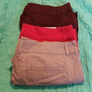 Bundle LOFT shorts size 8 burgundy red grey